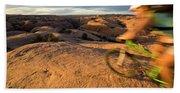 Woman Mountain Biking, Moab, Utah Hand Towel