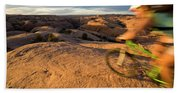 Woman Mountain Biking, Moab, Utah Bath Towel
