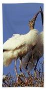 Wood Stork Courtship Display Bath Towel