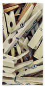Wooden Clothes Pegs Bath Towel
