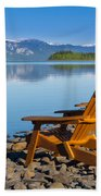 Wooden Deckchairs Overlooking Scenic Lake Laberge Bath Towel