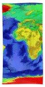World Map Art Bath Towel