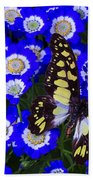Yellow And Black Butterfly Bath Towel