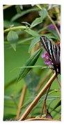 Zebra Swallowtail Butterfly At Butterfly Bush Bath Towel