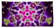 Flower Kaleidoscope Resembling A Mandala Bath Towel