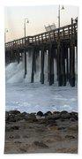 Ocean Wave Storm Pier Bath Towel