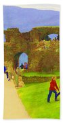 Tourists And The Path At Ruins Of The Urquhart Castle Bath Towel
