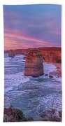12 Apostles At Sunset Pano Bath Towel