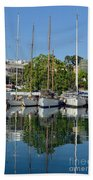 Reflections In Mikrolimano Port Bath Towel