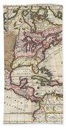1698 Louis Hennepin Map Of North America Bath Towel