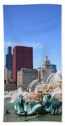 Chicago Skyline And Buckingham Fountain Bath Towel