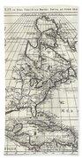 1708 De Lisle Map Of North America Bath Towel