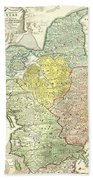 1710 Homann Map Of Denmark Bath Towel