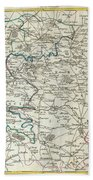1740 Zatta Map Of Central France And The Vicinity Of Paris  Bath Towel