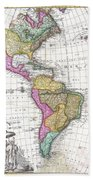 1746 Homann Heirs Map Of South And North America Hand Towel