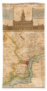 1752  Scull  Heap Map Of Philadelphia And Environs Bath Towel