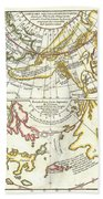1772 Vaugondy Diderot Map Of Alaska The Pacific Northwest And The Northwest Passage Hand Towel