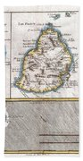 1780 Raynal And Bonne Map Of Mascarene Islands Reunion Mauritius Bourbon Bath Towel
