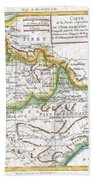 1780 Raynal And Bonne Map Of Northern India Bath Towel
