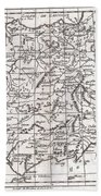 1780 Raynal And Bonne Map Of Spain And Portugal Bath Towel