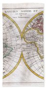 1780 Raynal And Bonne Map Of The Two Hemispheres Bath Towel