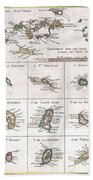 1780 Raynal And Bonne Map Of The Virgin Islands And Antilles West Indies Bath Towel