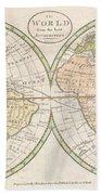 1798 Payne Map Of The World  Bath Towel