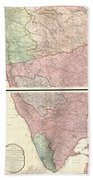 1800 Faden Rennell Wall Map Of India Bath Towel