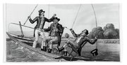 1800s Three 19th Century Men In Boat Hand Towel