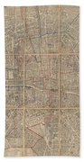 1802 Chez Jean Map Of Paris In 12 Municipalities France Bath Towel