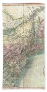 1806 Cary Map Of New England New York Pennsylvania New Jersey And Virginia Bath Towel