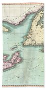 1807 Cary Map Of Nova Scotia And Newfoundland Bath Towel