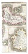 1815 Thomson Map Of Guadaloupe Antigua Marie Galante  West Indies Bath Towel