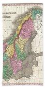 1827 Finley Map Of Scandinavia Norway Sweden Denmark Bath Towel