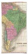 1827 Finley Map Of South America Bath Towel