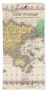 1827 Finley Map Of The World Bath Towel