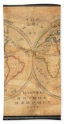 1833 School Girl Manuscript Wall Map Of The World On Hemisphere Projection  Bath Towel