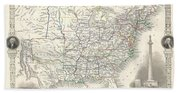 1851 Tallis And Rapkin Map Of The United States Bath Towel