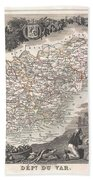 1852 Levasseur Map Of The Department Du Var France  French Riviera Bath Towel