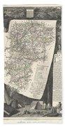 1852 Levasseur Map Of The Department L Aisne France Bath Towel