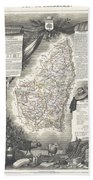 1852 Levasseur Map Of The Department L Ardeche France Hand Towel