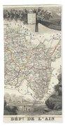 1852 Levasseur Map Of The Department L'ain France Bugey Wine Region Bath Towel