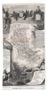 1852 Levasseur Mpa Of The Department De La Loire France Loire Valley Region Bath Towel