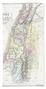 1852 Philip Map Of Palestine  Israel  Holy Land Bath Towel