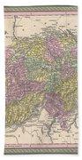 1853 Mitchell Map Of Switzerland  Bath Towel