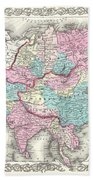 1855 Colton Map Of Asia Bath Towel