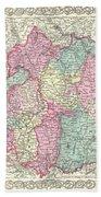 1855 Colton Map Of Bavaria Wurtemberg And Baden Germany Bath Towel