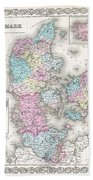 1855 Colton Map Of Denmark Bath Towel