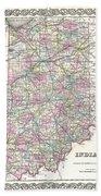 1855 Colton Map Of Indiana Bath Towel