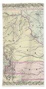 1855 Colton Map Of Kansas And Nebraska  Bath Towel